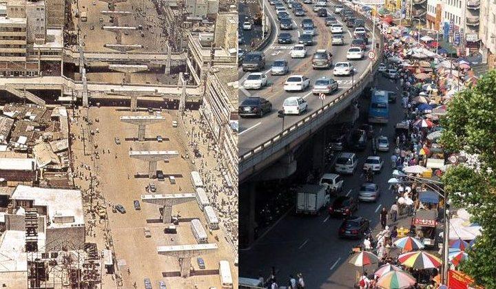 La construction de l'autoroute et les nombreuses échoppes commerciales. @DR