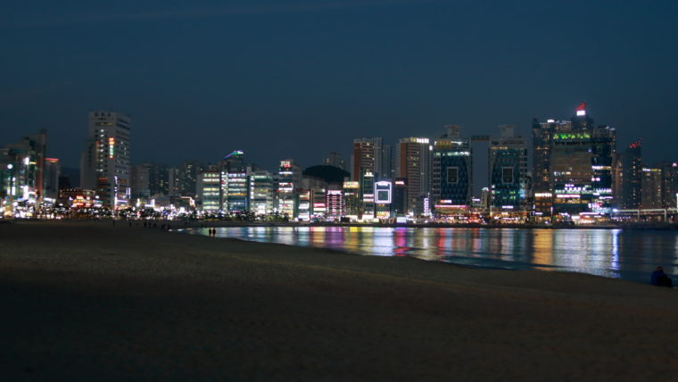 Panorama nocturne plage de Gwangalli Busan