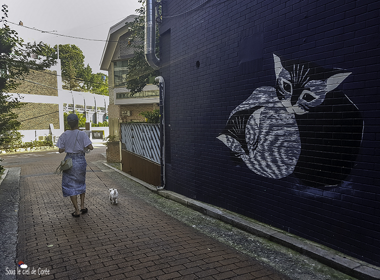 haebangchon peinture murale chat