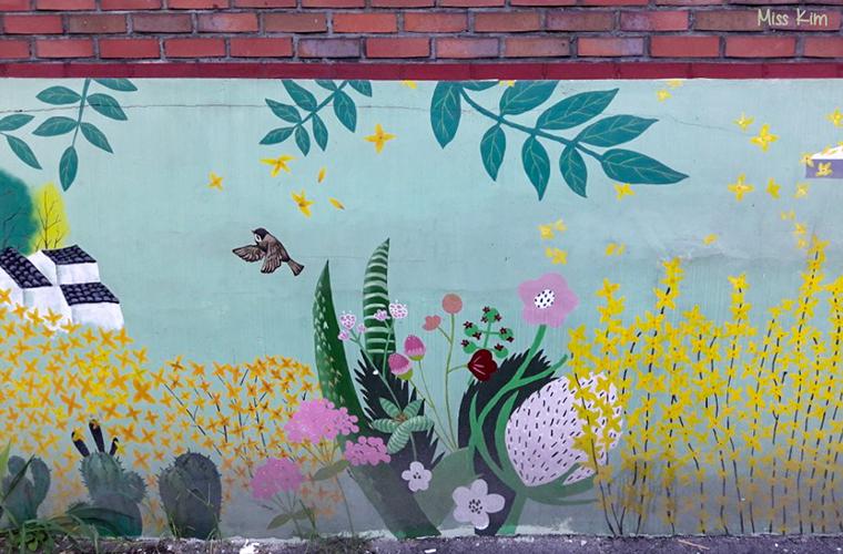 fresque murale dans les rues de Séoul