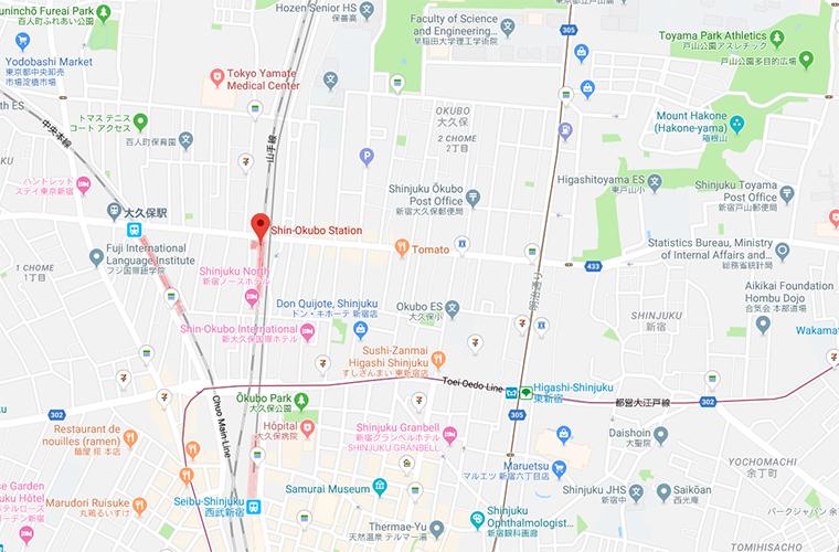 Shin-Okubo Tokyo Map