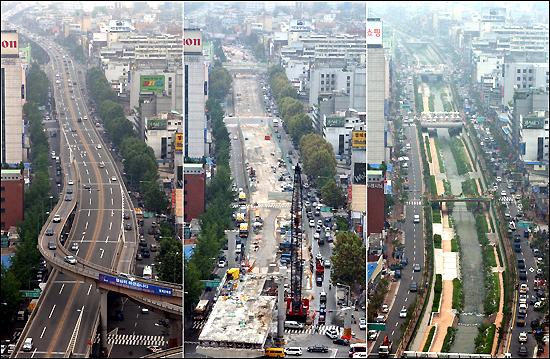 Avant, pendant et après les travaux de restauration.
