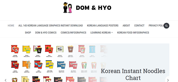 Page d'accueil du site Dom & Hyo