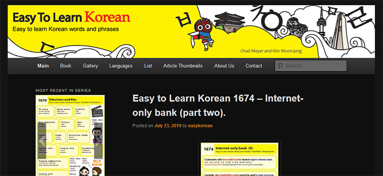 Page d'accueil du site Easy to learn Korean
