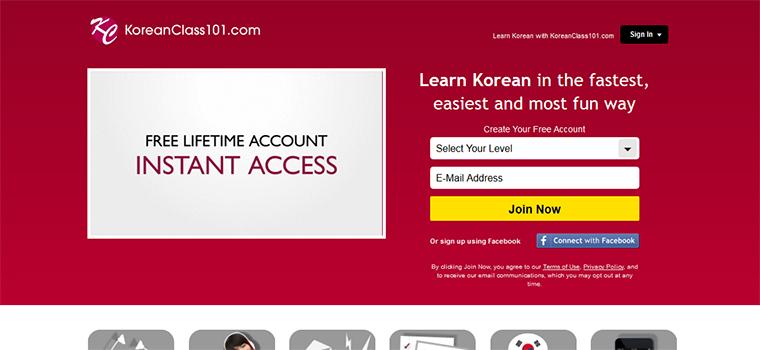 Page d'accueil du site KoreanClass101.com