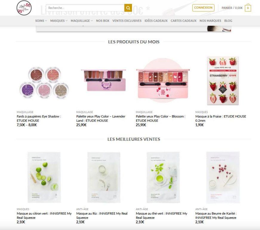 Catalogue des produits de la boutique en ligne Little Noon.