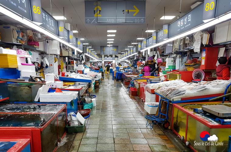 Marché aux poissons frais de Jagalchi à Busan