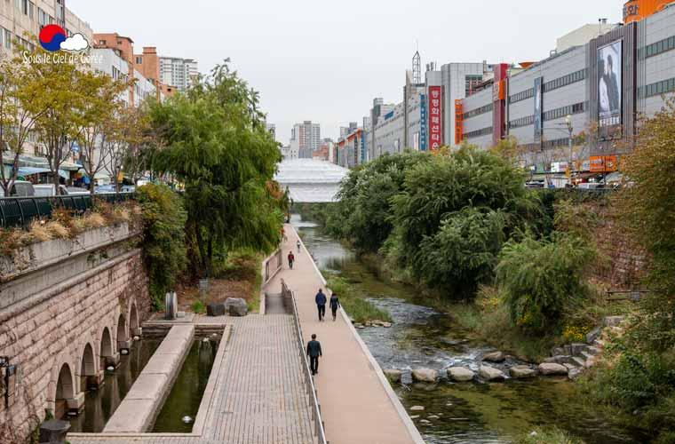 La rivière Cheonggyecheon à Séoul