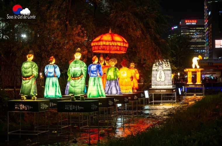 La rivière Cheonggyecheon à Séoul pendant le festival des lumières