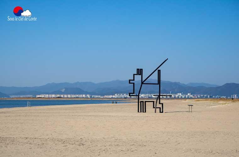 Installation artistique sur la plage de Dadaepo à Busan