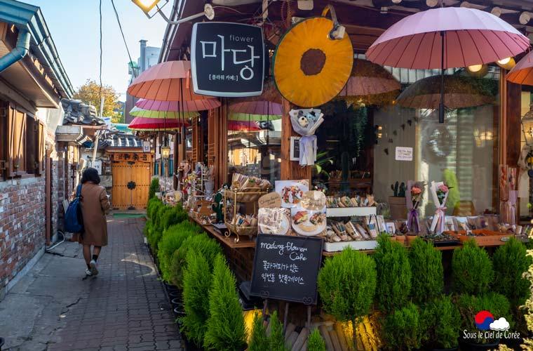 L'extérieur du Madang Flower Café à Séoul