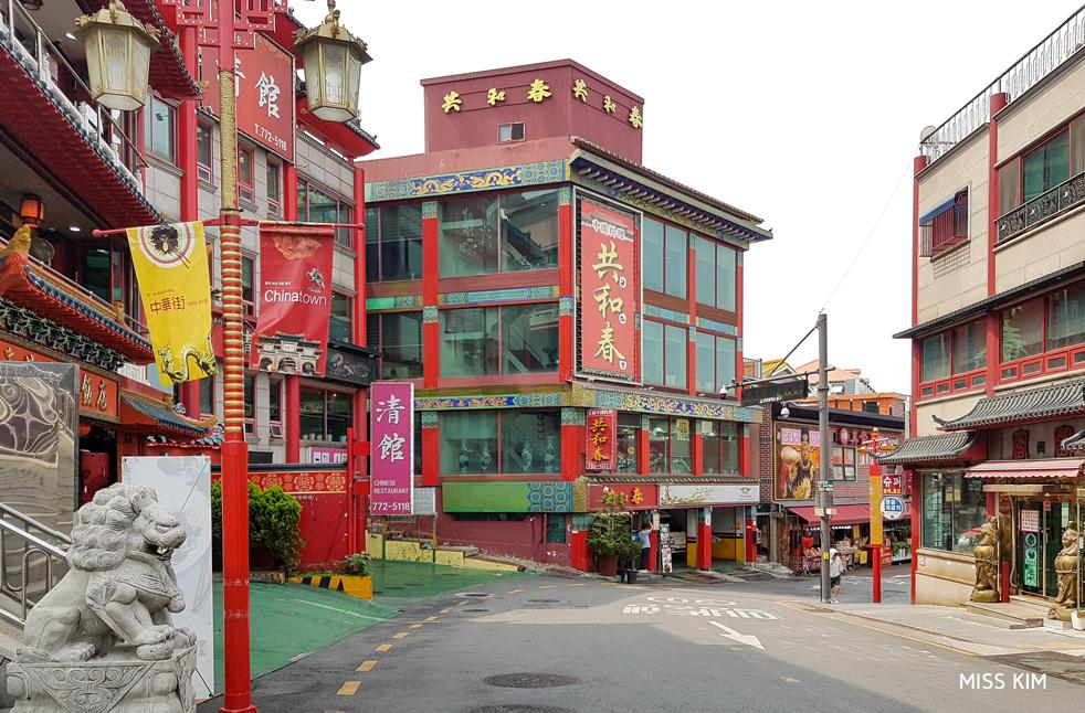 Rue du quartier d'Incheon, en Corée du Sud