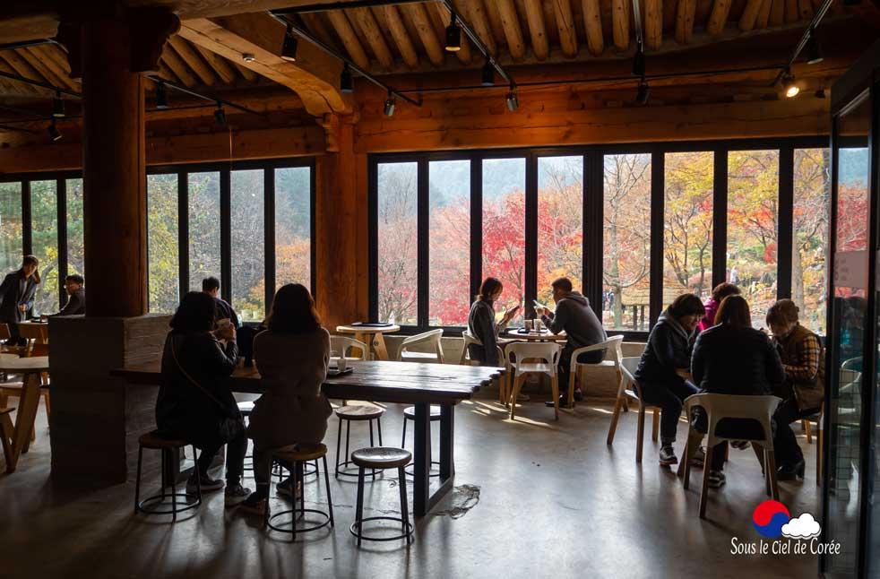 L'intérieur du café, Jardin du Matin calme en Corée du Sud