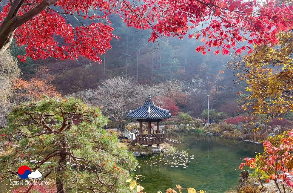 Jardin de l'étang et son pavillon traditionnel coréen au Jardin du Matin calme en Corée du Sud